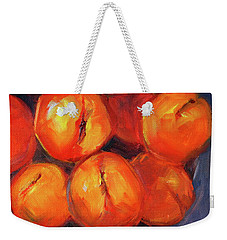 Weekender Tote Bag featuring the painting Bowl Of Peaches Still Life by Nancy Merkle