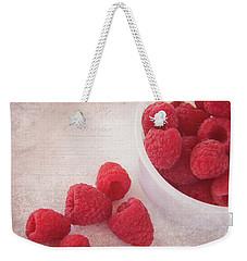 Bowl Of Red Raspberries Weekender Tote Bag