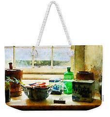 Bowl Of Vegetables And Green Bottle Weekender Tote Bag