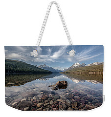 Weekender Tote Bag featuring the photograph Bowman Lake Rocks by Aaron Aldrich