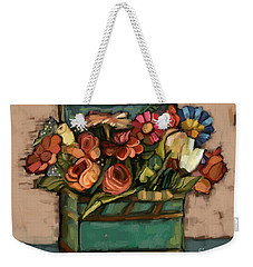 Weekender Tote Bag featuring the painting Box Of Flowers by Carrie Joy Byrnes