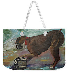 Weekender Tote Bag featuring the painting Boxer On Beach by Jan Dappen