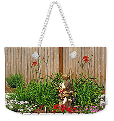 Boy And Dog In Garden Weekender Tote Bag