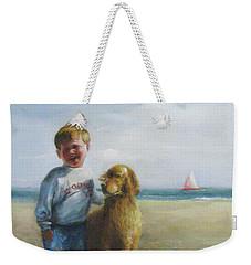 Boy And His Dog At The Beach Weekender Tote Bag by Oz Freedgood