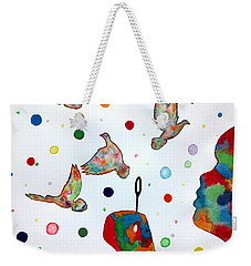Weekender Tote Bag featuring the painting Boy Blowing Soap Bubbles And Doves by Edwin Alverio