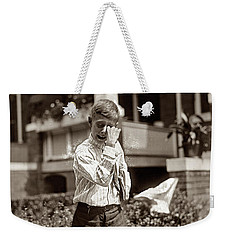 Weekender Tote Bag featuring the painting Boy Crying  by Artistic Panda