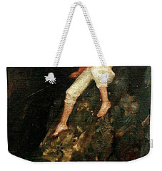 Boy Fishing On Rocks  Weekender Tote Bag by Henry Scott Tuke