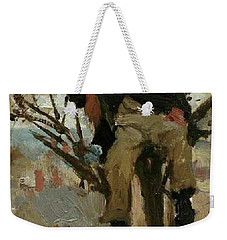 Weekender Tote Bag featuring the painting Boy In A Tree by Henry Scott Tuke