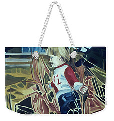Boy In Grassy Field Weekender Tote Bag