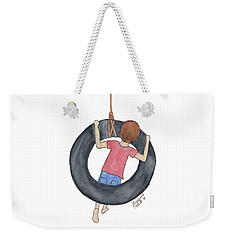 Weekender Tote Bag featuring the painting Boy On Swing 1 by Betsy Hackett
