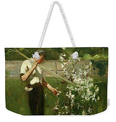 Weekender Tote Bag featuring the painting Boy With A Grass Rake by Henry Scott Tuke