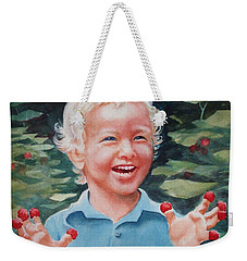 Weekender Tote Bag featuring the painting Boy With Raspberries by Marilyn Jacobson