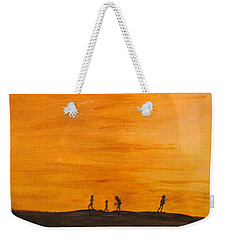 Weekender Tote Bag featuring the painting Boys At Sunset by Ian  MacDonald