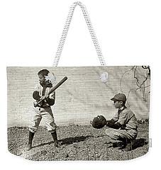 Weekender Tote Bag featuring the painting Boys Playing Baseball by Artistic Panda