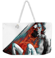 Weekender Tote Bag featuring the drawing Bradley With Mood Texture by Paul Davenport