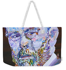 Weekender Tote Bag featuring the painting Bram Stoker - Oil Portrait by Fabrizio Cassetta