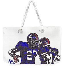 Weekender Tote Bag featuring the drawing Brandon Jacobs And Ahmad Bradshaw by Jeremiah Colley