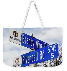 Weekender Tote Bag featuring the photograph Brandywine And Rivendell Street Signs by Gary Whitton