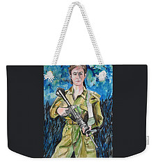 Weekender Tote Bag featuring the painting Bravado, An Israeli Woman Soldier by Esther Newman-Cohen