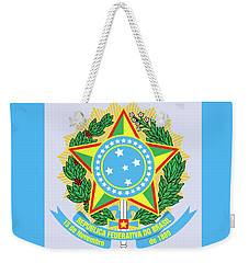 Weekender Tote Bag featuring the drawing Brazil Coat Of Arms by Movie Poster Prints