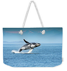 Breaching Humpback Whales Happy-4 Weekender Tote Bag