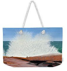 Weekender Tote Bag featuring the painting Breakers On Georgian Bay by Kenneth M  Kirsch