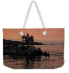 Weekender Tote Bag featuring the photograph Breakwater Sunset by Suzanne Luft