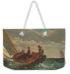 Weekender Tote Bag featuring the painting Breezing Up A Fair Wind - 1876 by Winslow Homer