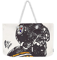 Weekender Tote Bag featuring the drawing Brett Keisel by Jeremiah Colley