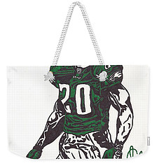 Weekender Tote Bag featuring the drawing Brian Dawkins 3 by Jeremiah Colley