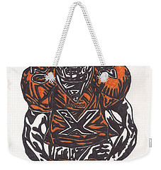Weekender Tote Bag featuring the drawing Brian Dawkins by Jeremiah Colley