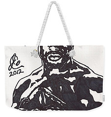 Weekender Tote Bag featuring the drawing Brian Westbrook by Jeremiah Colley