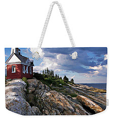 Brick Bell House At Pemaquid Point Light Weekender Tote Bag