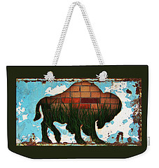 Weekender Tote Bag featuring the photograph Red Brick Buffalo by Larry Campbell