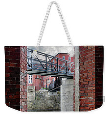 Weekender Tote Bag featuring the photograph Brick Mill Window View, Saco, Me by Betty Denise