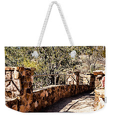 Weekender Tote Bag featuring the photograph Bridge Over Desert Wash by Lawrence Burry