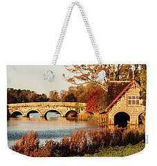 Weekender Tote Bag featuring the photograph Bridge And Boat House On The Rye Water - Maynooth, Ireland by Barry O Carroll