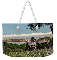 Weekender Tote Bag featuring the digital art Bridge And Two Horses by Walter Colvin