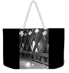 Weekender Tote Bag featuring the photograph Bridge Glow by Greg Fortier