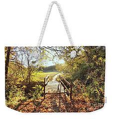 Bridge In Autumn Weekender Tote Bag by Janette Boyd