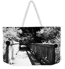 Weekender Tote Bag featuring the photograph Bridge In Woods by Yulia Kazansky