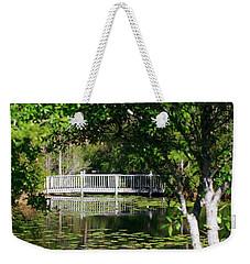 Bridge On Lilly Pond Weekender Tote Bag by Lori Mellen-Pagliaro