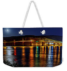 Weekender Tote Bag featuring the photograph Bridge Over Columbia Waters by Cat Connor