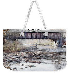 Weekender Tote Bag featuring the photograph Bridge Over Troubled Waters by EricaMaxine  Price