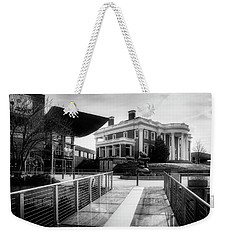 Weekender Tote Bag featuring the photograph Bridge To Hunter Museum In Black And White by Greg Mimbs