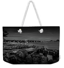 Weekender Tote Bag featuring the photograph Bridge To Longboat Key In Bw by Doug Camara