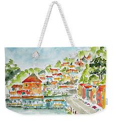 Weekender Tote Bag featuring the painting Bridgeway Boulevard Sausalito by Pat Katz