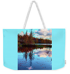 Bright Colors Of Autumn Reflected In The Still Waters Of A Beautiful Forest Lake Weekender Tote Bag