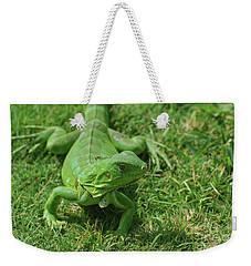 Bright Green Iguana In Grass Weekender Tote Bag by DejaVu Designs