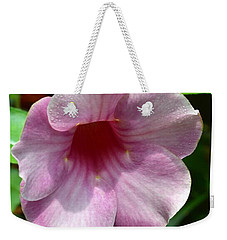 Weekender Tote Bag featuring the photograph Bright Mandevillia by James Fannin